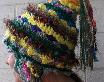 freeform crochet Tibet inspired ear tab hat