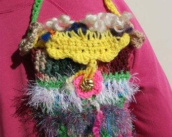 Freeform crochet purse SECRET GARDEN lined w/pocket
