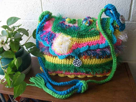 freeform crochet Happy Purse one of a kind