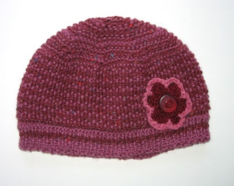 Womens / Ladies Retro HANDMADE Knitted Burgundy Maroon Wool Beanie Hat with Flower & Buttons  . Gift Idea . OOAK . Made in Australia