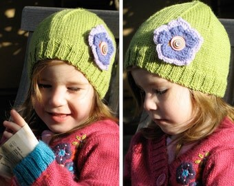 Girls Retro HANDMADE Green Knitted Wool Beanie Hat with flower & Buttons . A Great Gift Idea . Size - Age: 2 3 4 5 6 . OOAK .