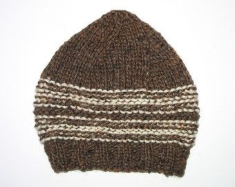 BABY Boys / Toddler Retro Handmade Knitted Brown Wool Beanie Hat . A Great Gift Idea . OOAK . Size 12 months - 18 months . Made in Australia