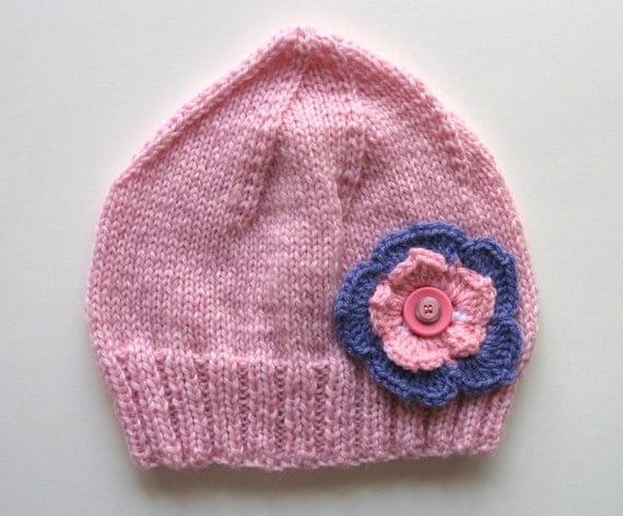 Girls Retro Handmade Pink Knitted Wool Beanie Hat - Flower & Buttons  . Size - Age: 3 4 5
