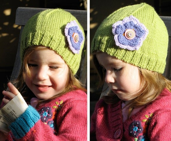 Girls Retro HANDMADE Green Knitted Wool Beanie Hat with flower & Buttons . A Great Gift Idea . Size - Age: 2 3 4 . OOAK . Made in Australia