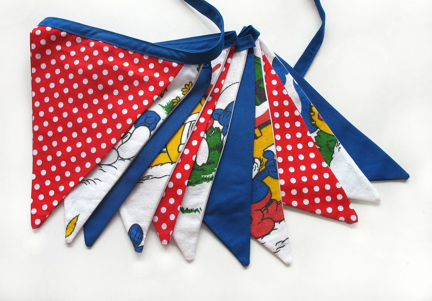 Vintage Retro SMURFS Blue & Red Flag by MerryGoRoundHANDMADE