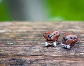 Teddy, Polymer clay earrings.