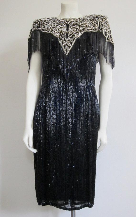 Vintage 1980s Black Tie Oleg Cassini Beaded Flapper Dress Deco