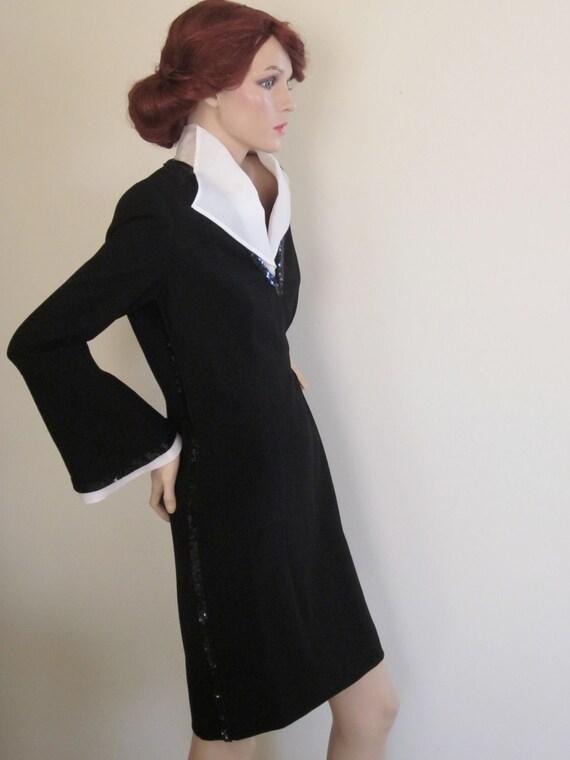 Louis Féraud Dress Black & White Vintage 1980s Sequins Cocktail Dress LBD Audrey Hepburn Tuxedo Dress Breakfast At Tiffany's Elegance