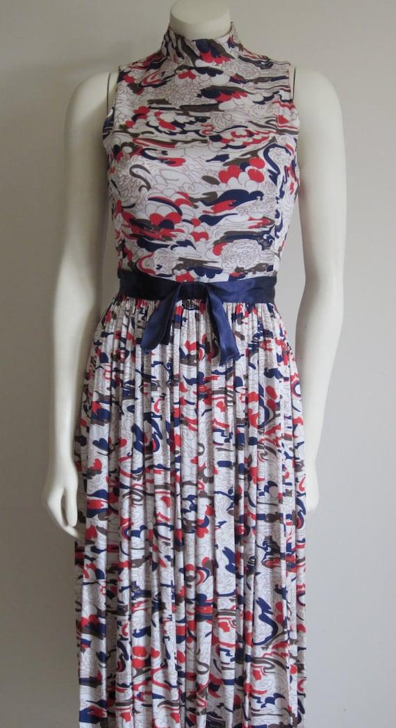 Nautical Dress Print Vintage 1970s Matching Shawl Red, White & Blue Maxi Dress Sleeveless KeyHole Back Opening Patriotic 4th of July Dress