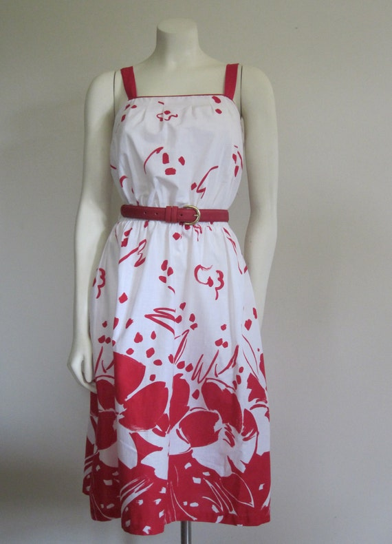 Vintage 1980s Dash-About Dress/ 80s Sundress/ Red & White Floral Abstract Print Dress/ Matisse/ Spring/  Summer Dress/ Mod/ Graphic/Festival