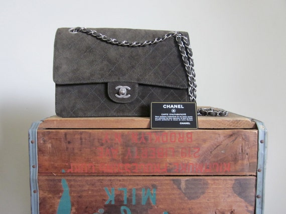RESERVED FOR TANYA 1990s Chanel 2.55 Bag Olive Green Suede/ Chanel Classic Flap/ Quilted/ Couture/ HIgh Fashion/ Designer/ Chain Bag/ Silver