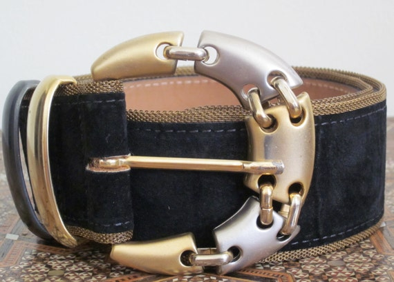 Steampunk Belt 1980s / Womens / Streets Ahead / Black / Suede / Rocker / Metallic / Gold / Silver