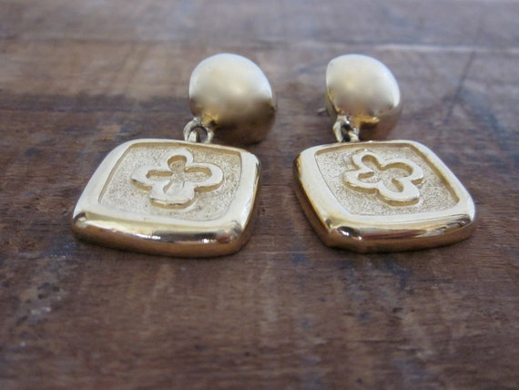 RESERVED FOR TANYA Vintage 1980s Givenchy Earrings/Four Leaf Clover/ Gold/ Pierced Earrings/ French Couture/ Gift/ Dangle Earrings