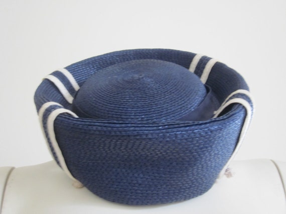 Vintage 1940s Navy & White Nautical Straw Hat Designed by Sylvia New York St. Louis On Trend Spring 2012