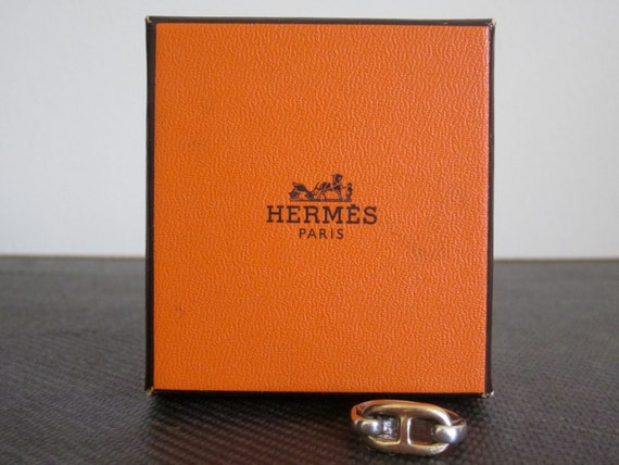 Hermes / Hermes Jewelry / Designer Jewelry / Equestrian / Equestrian Jewelry / Silver Gold / Silver Gold Ring / 80s Jewelry / Size 6 Ring