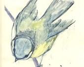 "Bird Print Monotype ""Bird on a Branch I"""