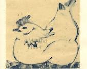"""Bird Print Monotype """"Chicken at Rest"""""""