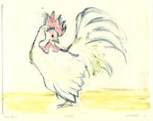 Rooster Print Monotype with Yellow and Red