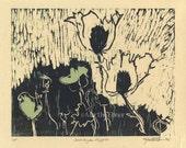 "Woodcut Print ""Monhegan Poppies"""