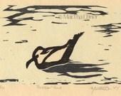 "Bird Print Woodcut ""Resident Gull"""