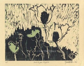 "Woodcut Print ""Monhegan Poppies"""