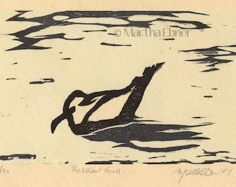 "Bird Print Woodcut ""Resident Gull"""
