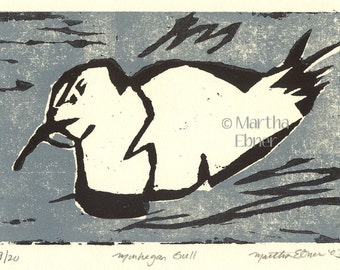 "Bird Print Woodcut ""Monhegan Gull' Seagull"
