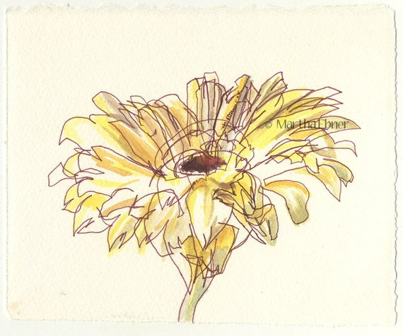 Watercolor Flower Drawing of Yellow Daisy