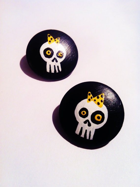 SALE -35% Black Skull with an Yellow Polka Dot Bow earrings - Hand painted