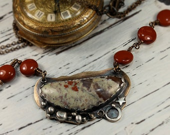 Necklace of Mixed Metal, Tennessee Cumberland Agate, Mookaite Beads