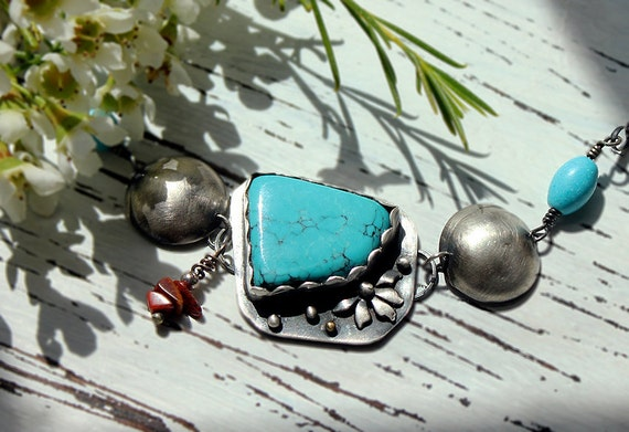 Silver Turquoise Bracelet with Coral