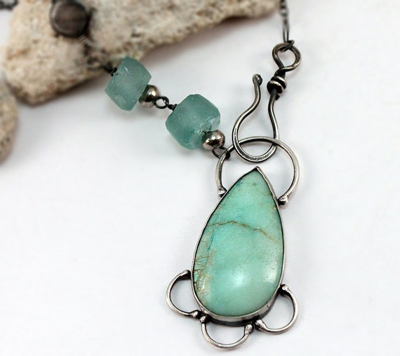 Silver Chrysoprase Pendant With Sea Glass Beads