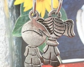 Dangle earrings - Stainless Steel Sweet earrings with a boy and a girl (one of a kind jewelry)