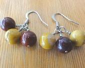 Gemstone Earrings - Dangle / Swirl Earrings with Mookaite Jasper Round Gemstones