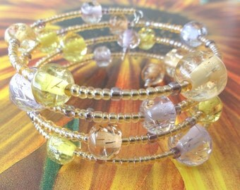 Soft color glass memory wire bangle