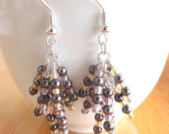 Beaded dangle long earrings