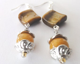 Tiger Eye and Topaz Gemstones dangle long Earrings - Gemstone Earrings