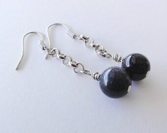 Goldstone chained dangle earrings