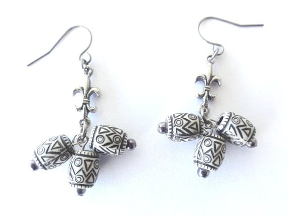 Grey Beaded dangle earrings