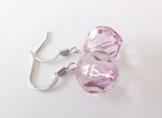 Lilac Faceted Bead Dangle Earrings