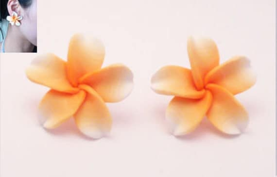 LAST ONE - Handmade Huge Orange & White Beach Exotic Flower Stud 50s Retro Earrings