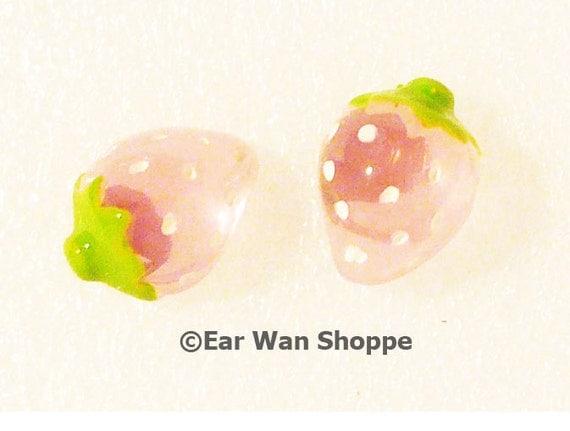 NEW Korean Kawaii Style Lovely & Cute 3D Clear Strawberry Stud Earrings