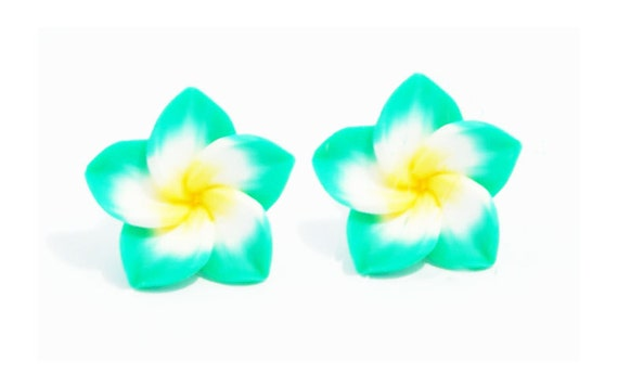 LAST ONE - Funky Green Flower Stud Earrings
