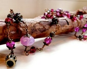 Bohemian Pink,red,fuchsia hand wire wrapped beaded necklace