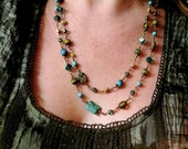 Bohemian blue, green hand wire wrapped beaded double necklace
