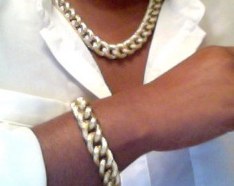 Gold Cuff CHUNKY Chain Necklace and Bracelet Set