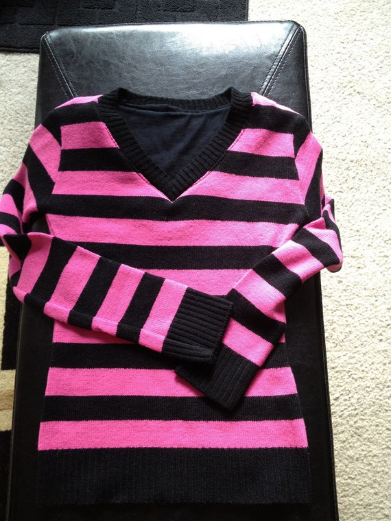 KANDEE JOHNSON Inspired Hot Pink and Black Stripe Retro Sweater Top