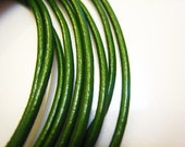 2 Yards of 2mm Green Round Leather Cord