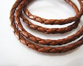 Leather Cord 3mm - Brown Round Braided Bolo Genuine Leather Cord