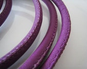 1 Yard of 7mm Purple Round Leather Cord